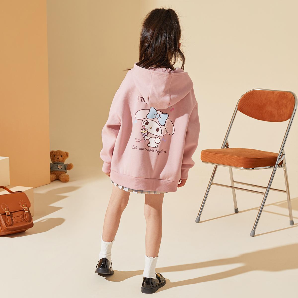 女童卫衣2021秋装新款中大童儿童美乐蒂联名连帽校园甜美卫衣