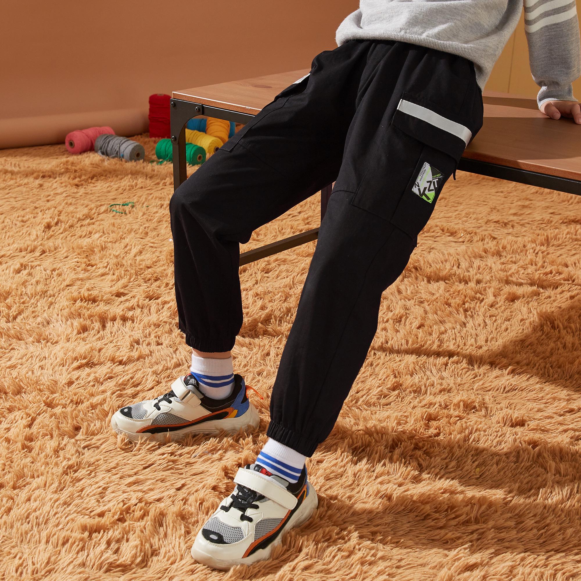 男童裤子2021秋装新款中大童儿童裤子韩版时尚潮酷男童工装裤