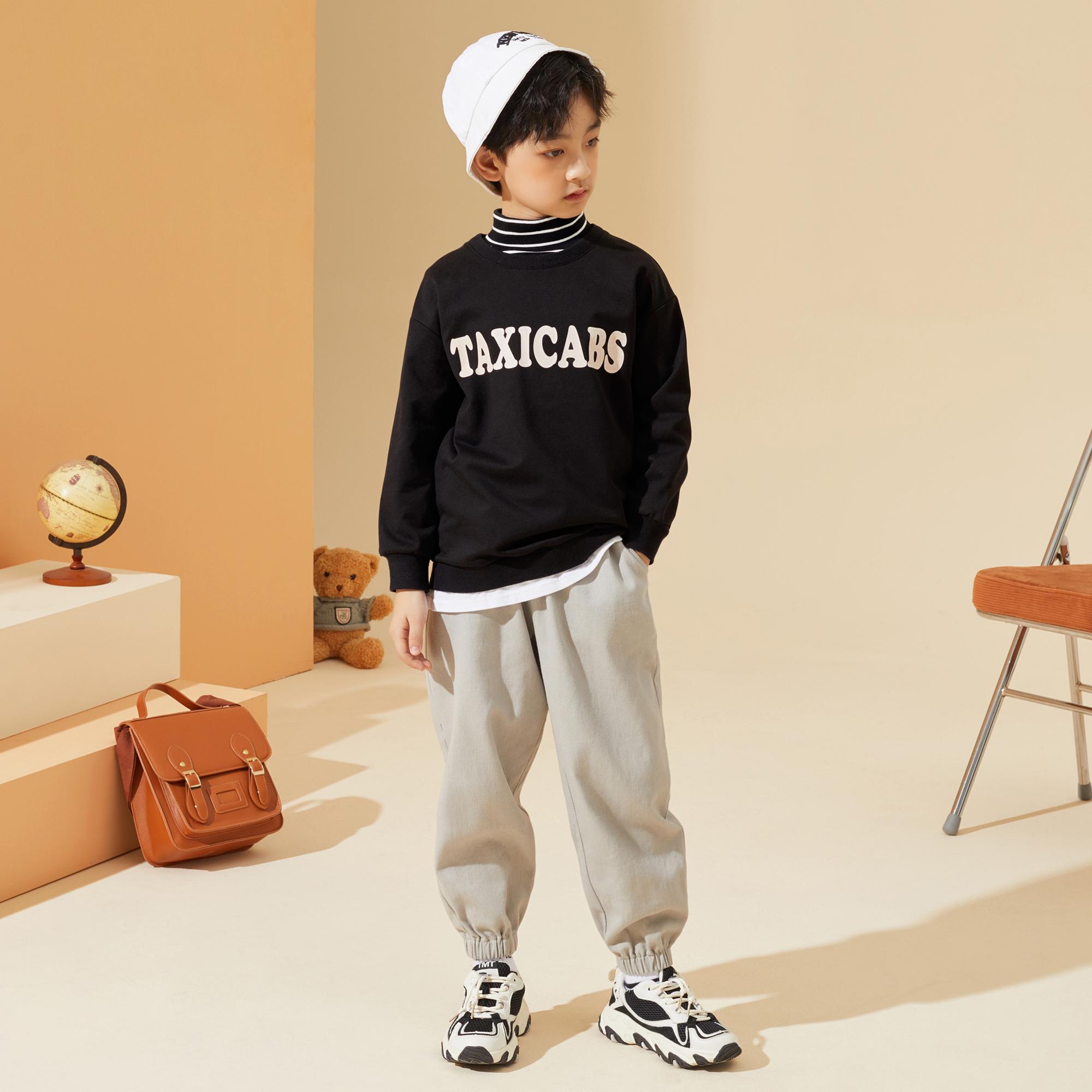 男童套装2021秋装新款儿童猫和老鼠联名款潮酷拼接运动套装潮