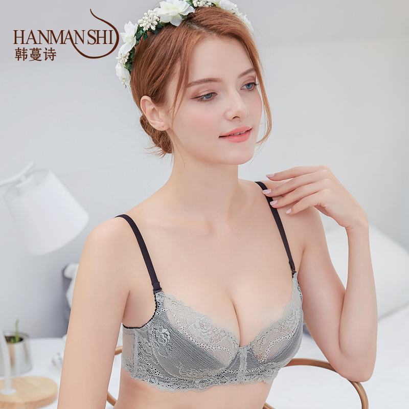 9a200aae1e With a large female sexy underwear ring code transparent lace bralette thin  small chest gather close