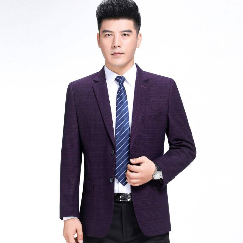 New autumn and winter mens suit fashion business middle aged wool single suit boutique plaid coat one double breasted