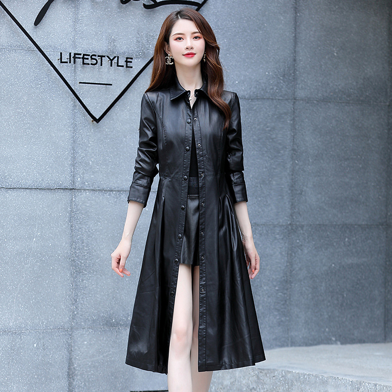 Knee length large leather windbreaker womens spring and autumn Korean PU leather jacket lapel handsome coat ouana