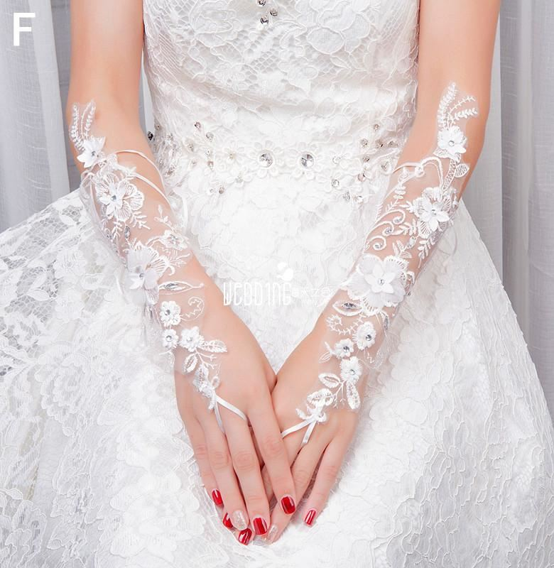 Bridal Wedding Lace Gloves Long water soluble lace diamond Gloves Wedding dress accessories gloves finger embroidery