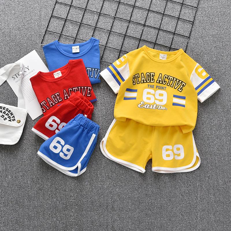 男童夏装2019新款儿童短袖套装男宝宝纯棉印花运动两件套潮篮球服29.80元包邮