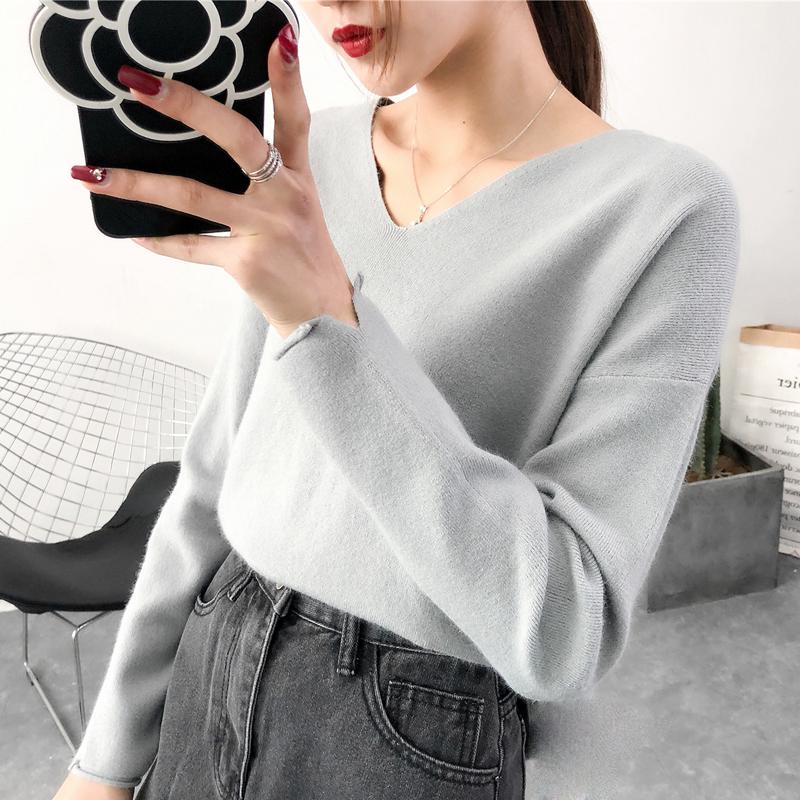 2018短款V领针织衫秋冬新款宽松上衣女装套头长袖韩版毛衣打底衫