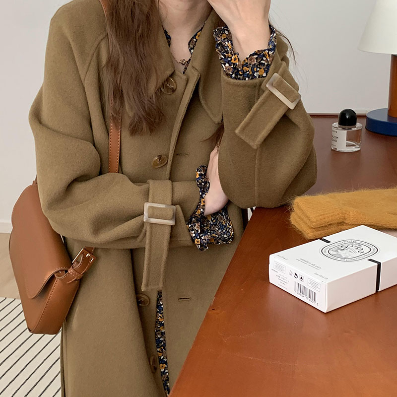 Double-faced cashmere coat women's 2020 new autumn and winter Korean loose Hepburn casual woolen coat mid-length
