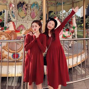 法式复古裙山本超仙2019新款女装春节过年衣服新年红色连衣裙针织