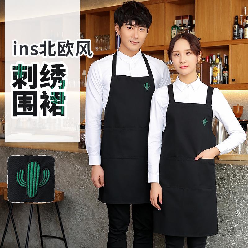 韩版时尚围裙定制印字LOGO厨房家用围腰工作服成人女可爱男士厨师