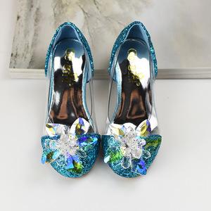 女童皮鞋2020新款公主儿童舞台走秀表演出水晶单鞋小孩穿的高跟鞋
