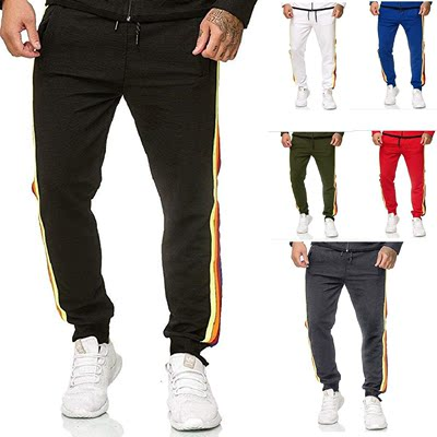 Men casual sports pants side color difference ribbon