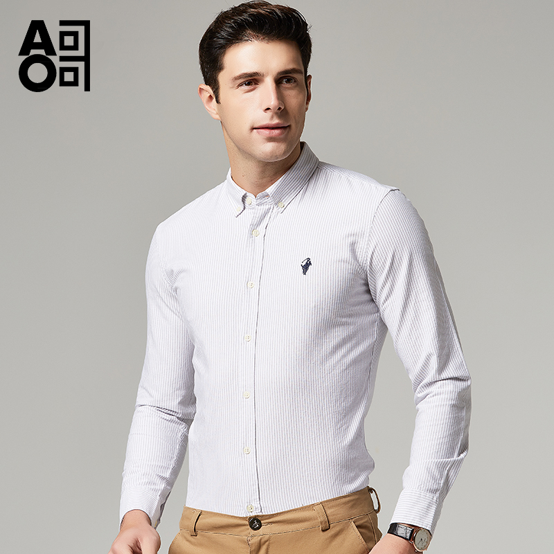 Aoge shirt mens long sleeve business spring and autumn pure cotton Oxford spinning Shirt Youth stripe slim fit versatile clothes