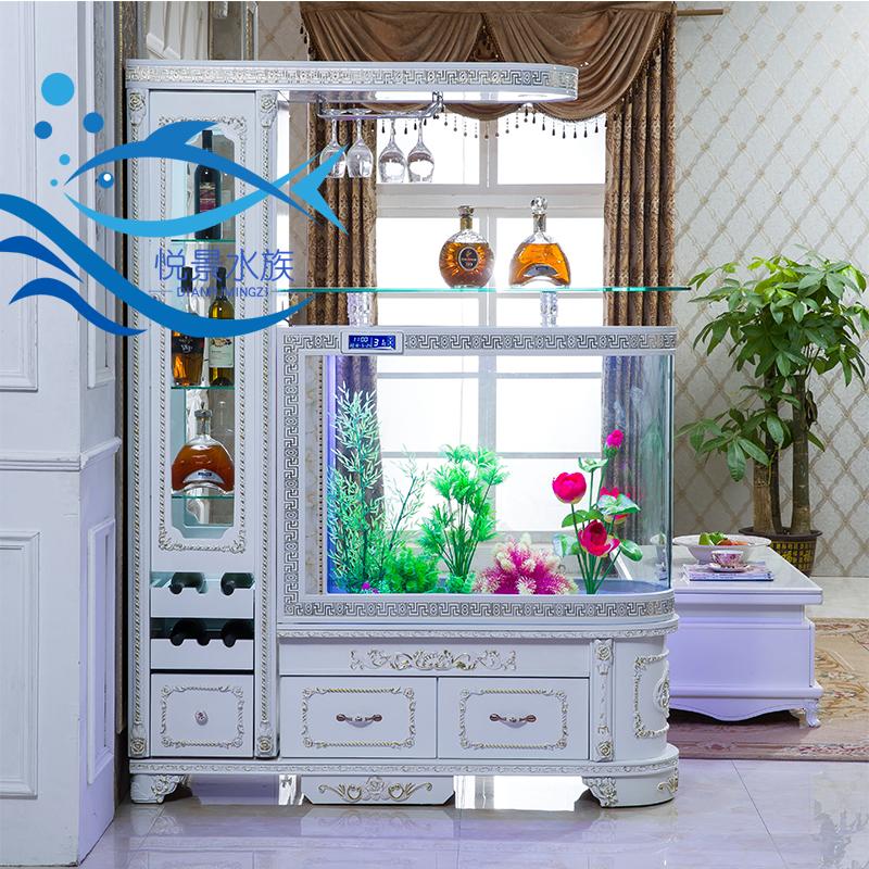 欧式懒人子弹头鱼缸酒柜水族箱屏风烤漆金鱼缸家用家具鱼缸落地