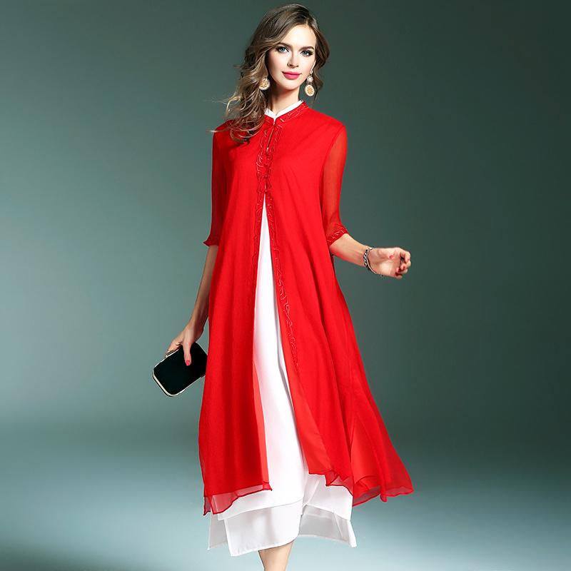 春夏季女装旗袍领风衣外套中长款外披复古绣花中式袍子真丝开衫仙