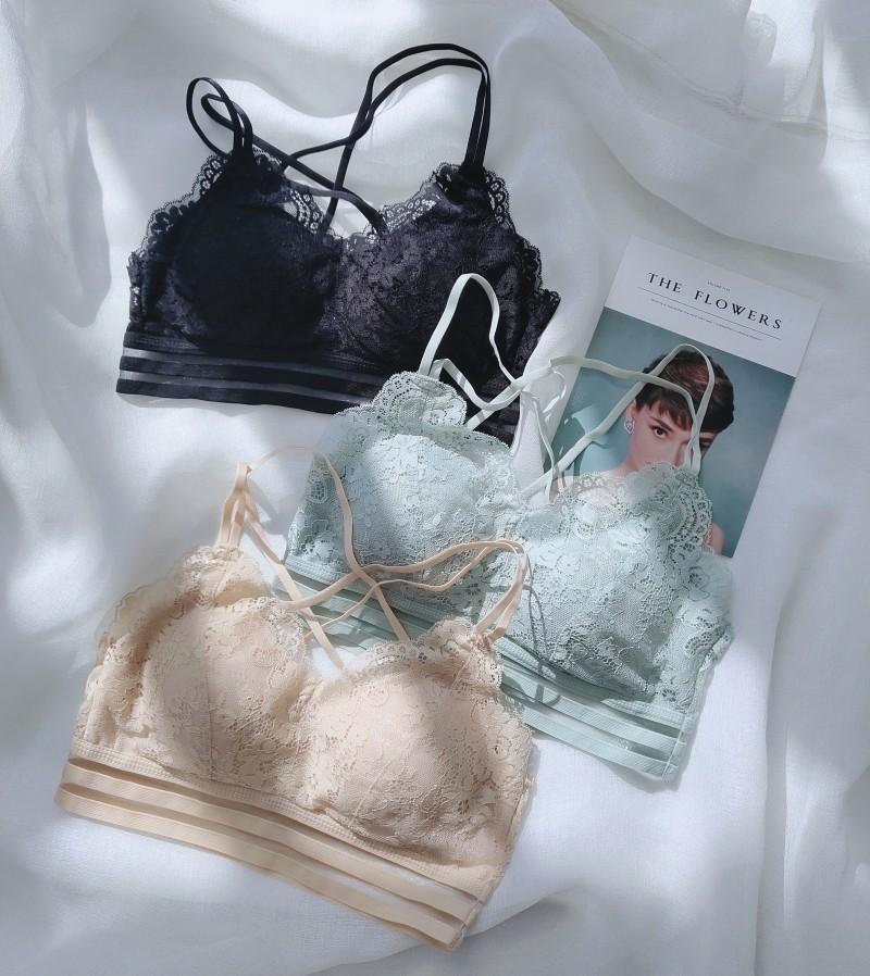 古妃3304美背交叉薄款内衣女性感蕾丝健康舒适透气棉抹胸裹胸文胸