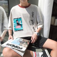 TX023-P40   2018夏季卡通数码印花纯棉男士插肩袖t恤学生上衣