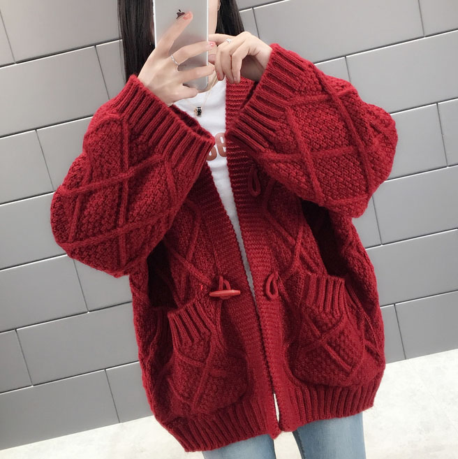 Korean sweater coat female loose fitting student 2019 new womens fashion fashion fashionable Plaid thickened knitted cardigan