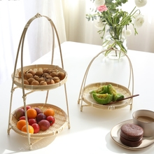 Wooden bamboo basket tea ceremony storage basket hand basket fruit plate tea dessert basket dried fruit basket dried fruit plate