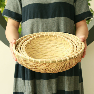 Bamboo woven products, household storage baskets, steamed bun boxes, dustpans, farmhouse shaunkei, vegetable baskets, baskets, drain baskets, fruit baskets