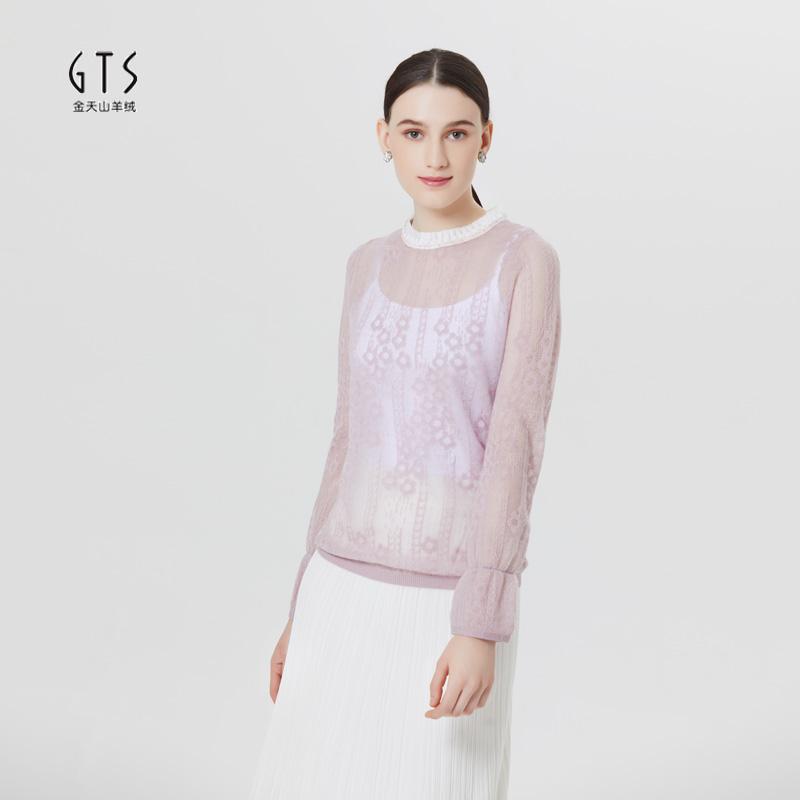 新疆天山2020夏季新品圆领镂空纯色针织衫女轻薄针织上衣女