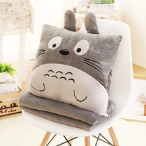 Pillow Quilt Dual Use pillow Office nap Pillow Coral velvet blanket bedside car cushion female air conditioner was