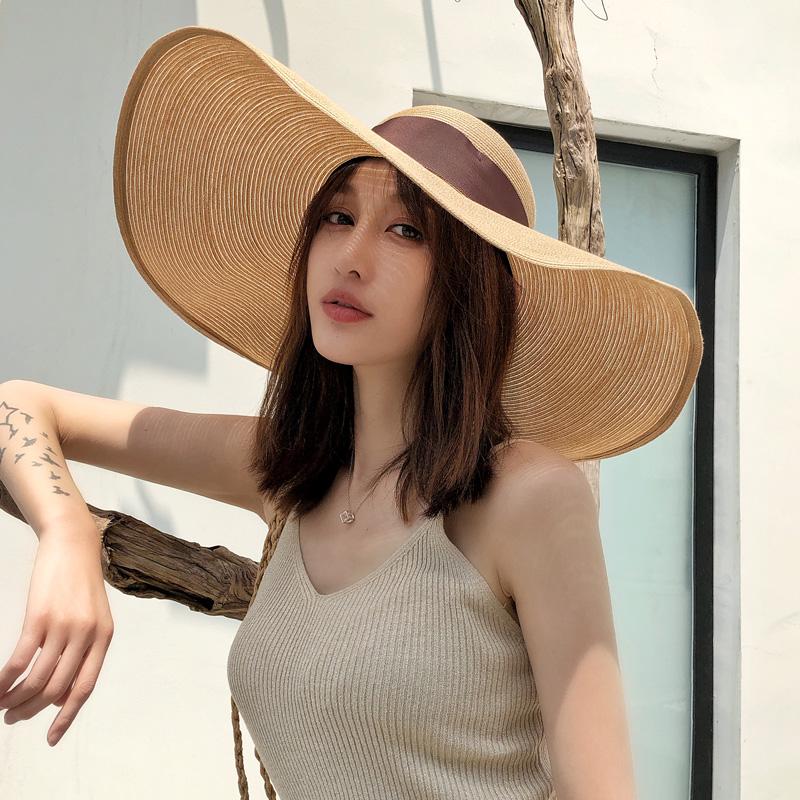 大帽檐大檐大草帽防晒遮阳帽沙滩帽女海边大沿太阳帽度假帽子海滩