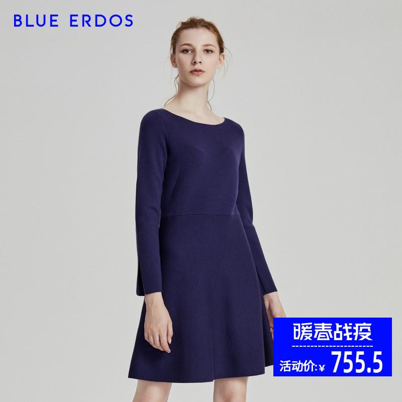 BLUE ERDOS 精纺一字领双提连衣裙