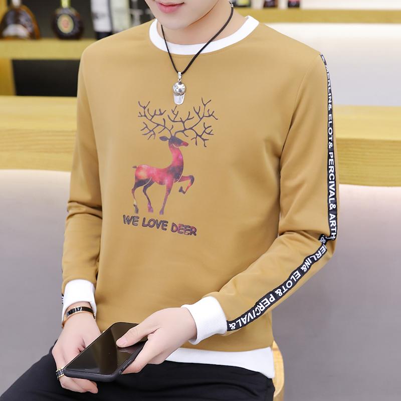 男士长袖t恤圆领印花春秋薄款外穿打底衫男韩版修身学生秋衣上衣
