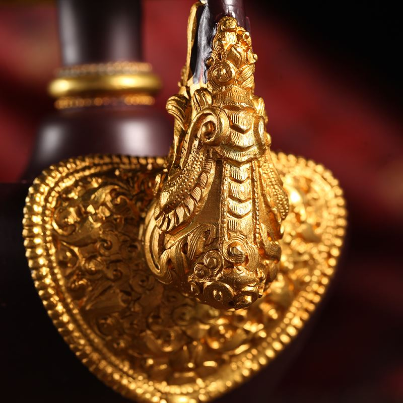 Тибетский буддийский тантрический копия Древний чистый красный Латунь Баба Пот Бенба Пот вентилятор Чистый чайник Топ Бунбар Размер горшка