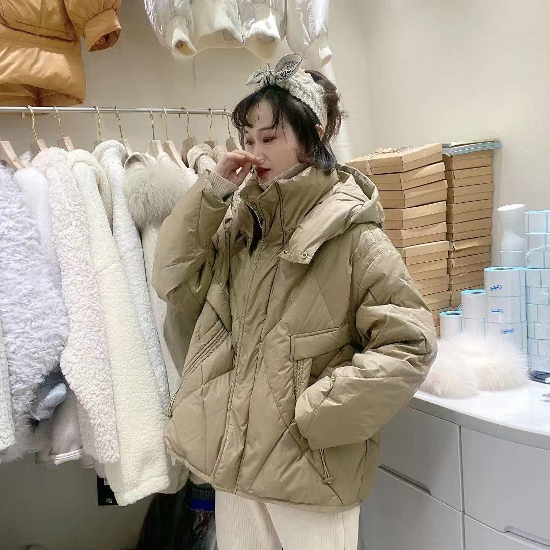 晨予涵短款羽绒服女2020冬白鸭绒连帽时尚气质小个子外套05YY2961