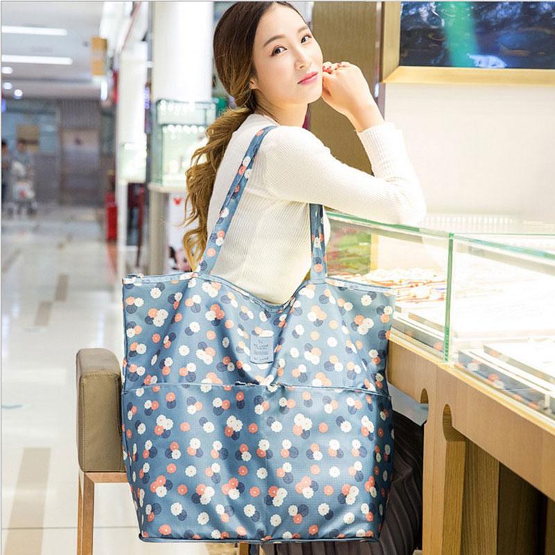 超市折叠便携手提购物袋单肩女大包简约超大容量帆布防水环保袋子
