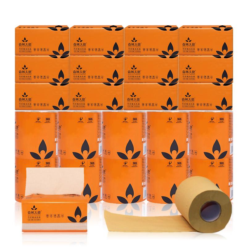 森林天使竹纤维本色纸套餐:12包抽纸巾(360张)+10个卷纸卫生纸
