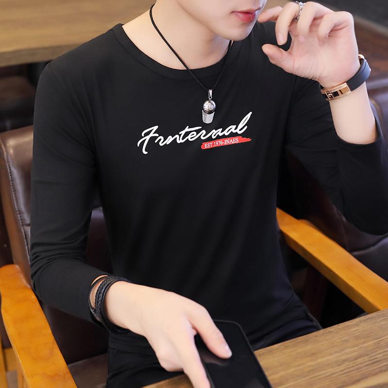 2021春秋季新款T恤牛奶丝印花长袖t恤男打底衫跑量-T14-p10长期做