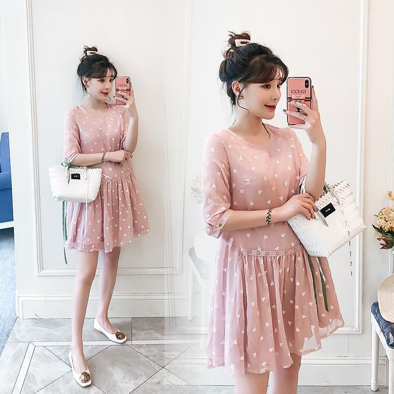 實拍現貨2020春夏粉色娃娃短袖女裝連衣裙雪紡衫上衣連衣裙