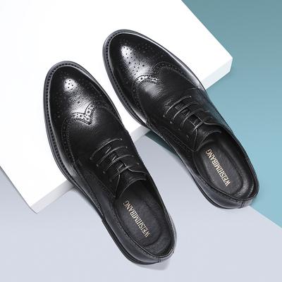 现货2021新款头层牛皮英伦布洛克皮鞋男黑色男鞋 A223-33625-P165
