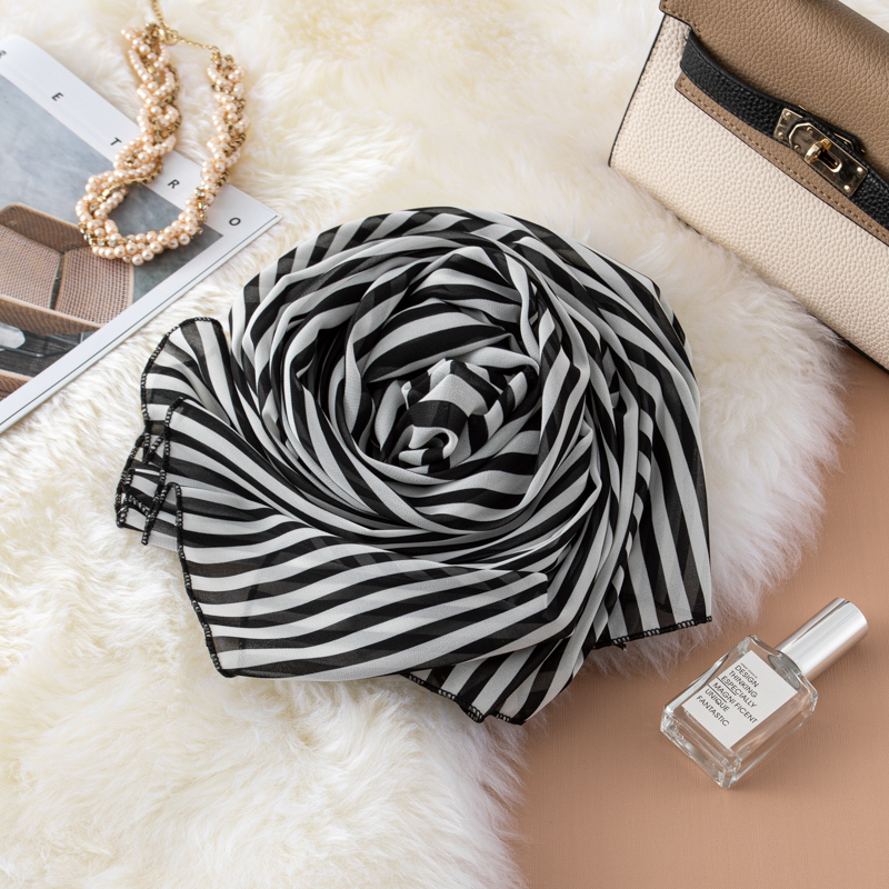 Autumn and winter fashion versatile womens thin silk scarf Chiffon Scarf Hong Kong Style classic black and White Stripe Scarf with long shawl