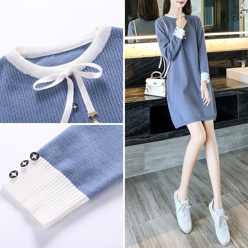 秋装裙子女2021新款女装潮冬裙蓝色长袖小个子针织秋季连衣裙秋冬