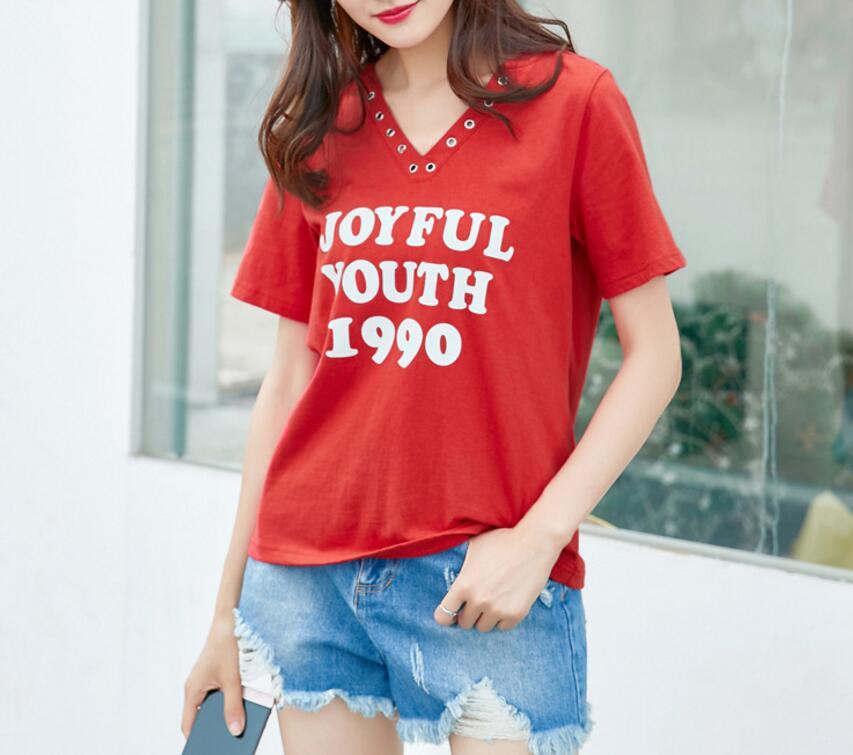 品牌专柜高档加肥大码女装夏季胖mm短袖字母V领T恤时尚上衣200斤