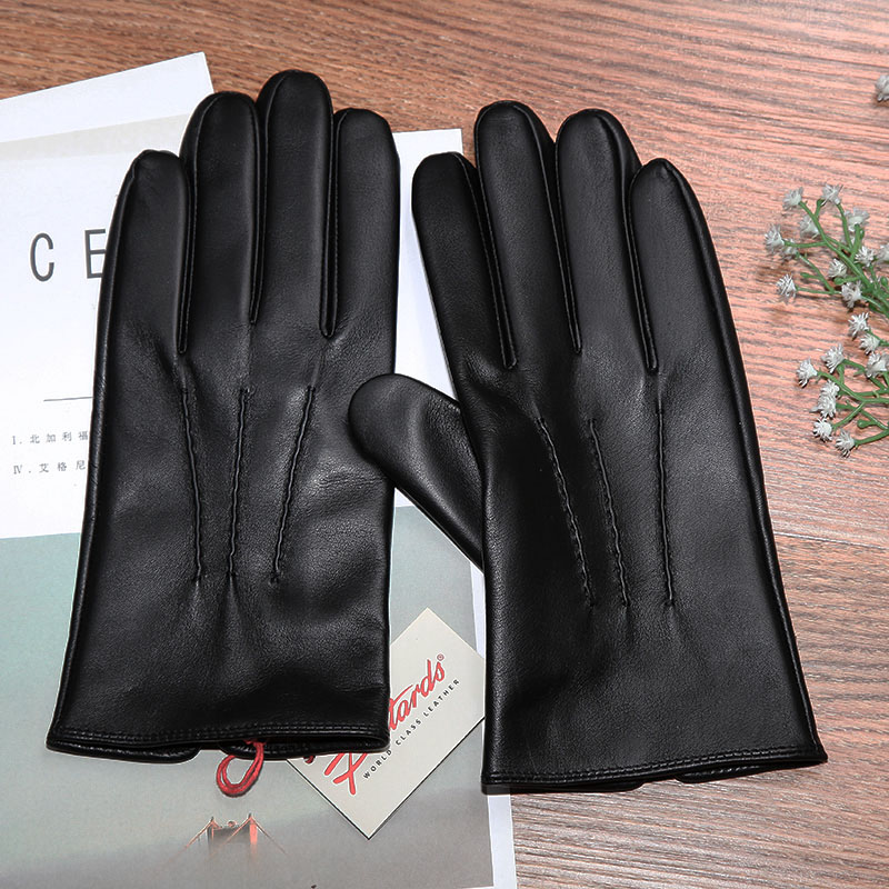 Mens and womens leather gloves cashmere wool Japanese cashmere light basic sub finger for driving warm winter
