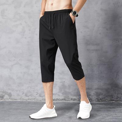 夏季七分褲男薄款彈力冰絲7分短褲男士寬松休閑運動速干8分馬褲潮