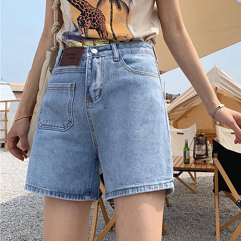 棉质高腰贴布牛仔阔腿裤女2021韩版夏女式宽松下装显瘦休闲短裤女
