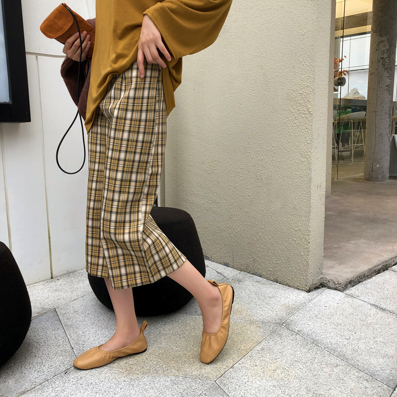 螃蟹巷文艺格子2019秋季新款半身裙78.00元包邮