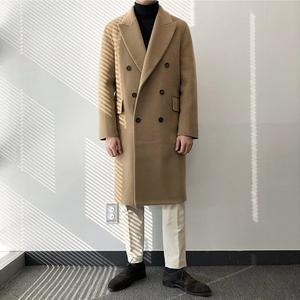 2020冬季新款毛呢大衣男中长款双排扣风衣韩版宽松呢子外套潮723