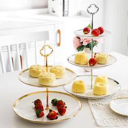欧式创意陶瓷三层蛋糕点心架家用客厅水果糖干果盘婚礼生日甜品台