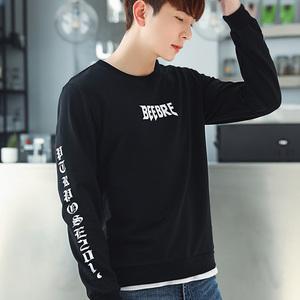 男式卫衣秋冬季新款学生青少年韩版潮流套头外套圆领字母型男上衣