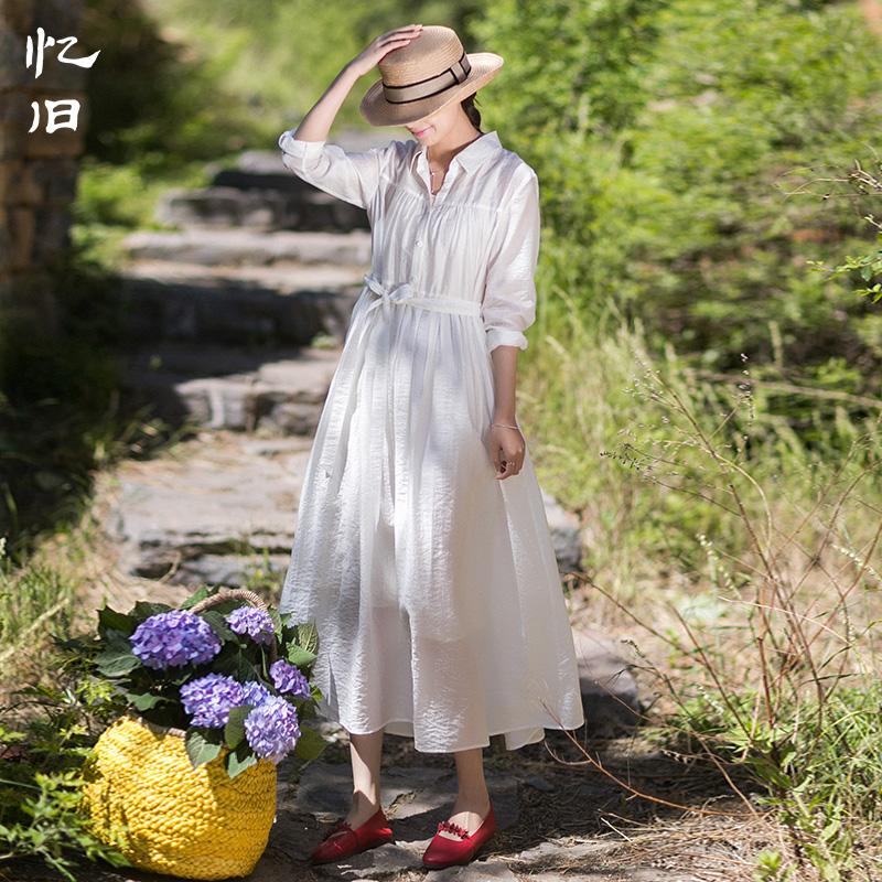 忆旧2021年新款文艺白色宽松衬衫裙