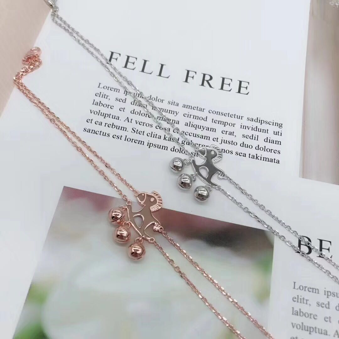 New Hong Kong Zhengsheng silver ornament S925 new double chain little Trojan horse bell chain Korean fashion send girlfriend