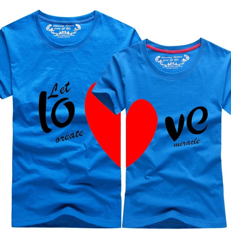couple t-shirt love heart 恤 men2017 women summer round ne
