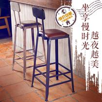 美式酒吧椅咖啡厅铁艺吧台椅前台高脚凳复古吧凳实木桌奶茶椅子