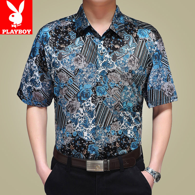 Authentic 2020 summer new silk mulberry short sleeve shirt for mens casual shirt for men middle aged dad Gao