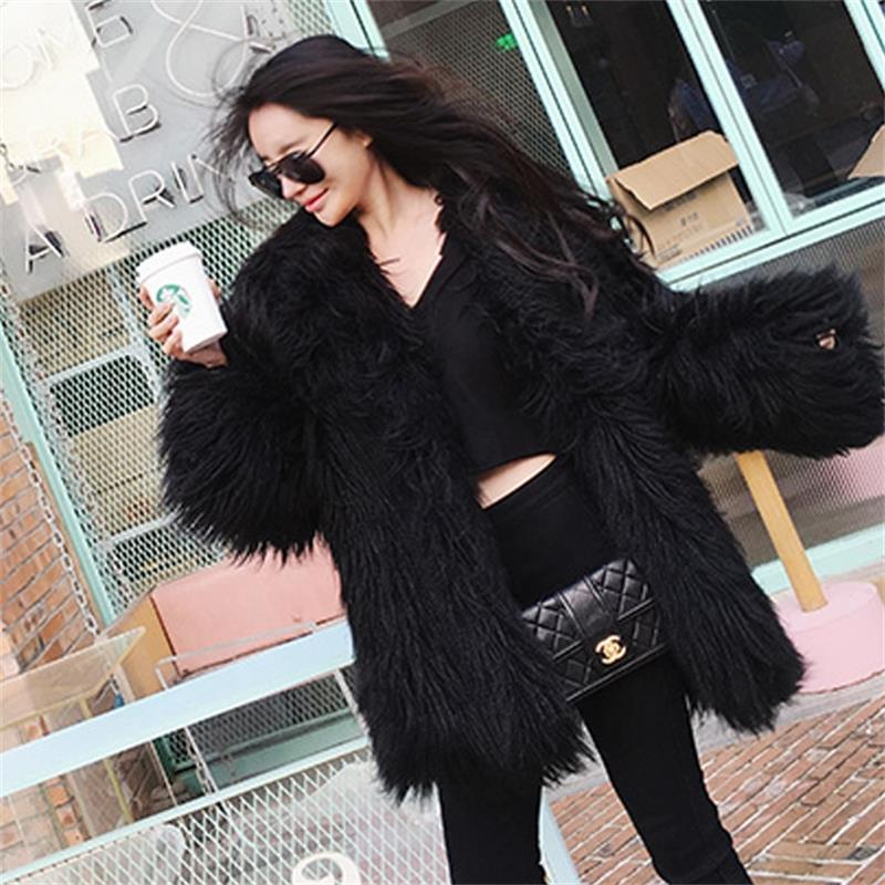 2019 winter new beach like wool fur coat womens medium long slim coat fashion thin lambs long hair